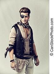 mode, junger, ausrüstung, mann, pirat, hübsch