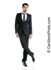 mode, junger, elegant, länge, voll, schwarze klage, mann