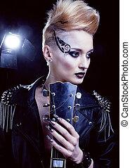 mode, kipstang, stijl, model, meisje, portrait., hairstyle., punker, vrouw