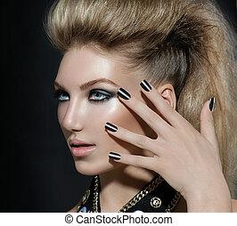 mode, kipstang, stijl, model, meisje, portrait., hairstyle