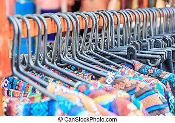 mode, kleding, op, hangers