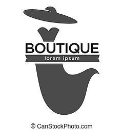 mode, kleiden, kleiderladen, logotype, weißer hut