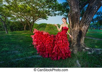 mode, kleiden, rotes , abend