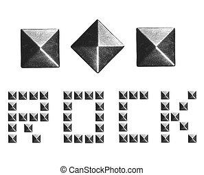 mode, klinknagelen, piramide, metaal, beslag