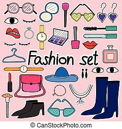 mode, klotter, set., hand, vektor, oavgjord, fodra