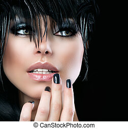 mode, konst porträtt, av, vacker, girl., mod, stil, kvinna