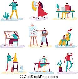 mode, kunst, designer., beeldhouwer, artist., mensen,...