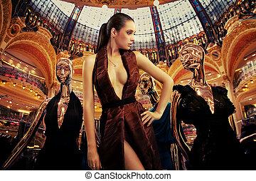 mode, kunst, fotografi, i, en, holdning, unge, brunette