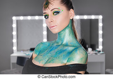 mode, kunst- portrait, .makeup