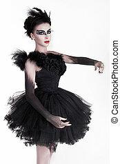 mode, kunst- portrait, von, schöne , girl., mode, stil, woman., freigestellt, weiß, hintergrund