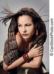 mode, kvinna, framställ