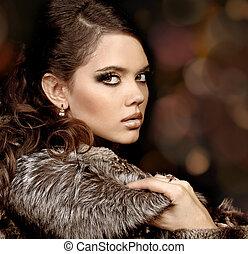 mode, kvinna, med, göra, uppe., lyxvara, stil