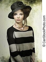 mode, kvinna, med, hatt