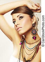 mode, kvinna, med, smycken