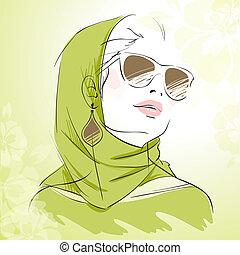 mode, lente, kleuren, groene, verticaal, meisje