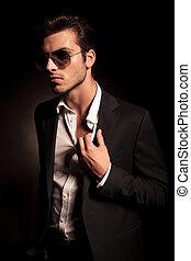 mode, lunettes soleil, loin, regarde, sexy, homme