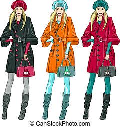 mode, mädels, vektor, oberseite, modelle, schöne