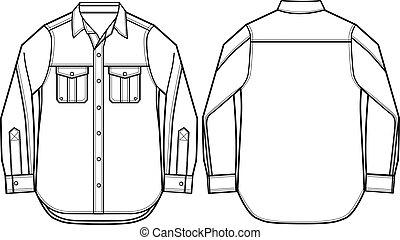 mode, män, skjorta, illustration