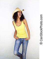 mode, mélangé, modèle, femme, chapeau, sourire, course