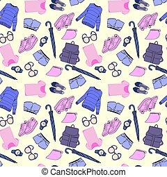mode, mönster, tillbehör, hand, vektor, oavgjord, kläder
