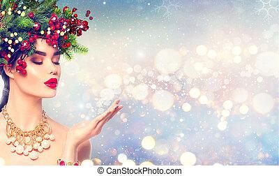 mode, magisch, winter, haar, sneeuw, hand, blazen, meisje, kerstmis