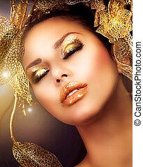 mode, makeup., makeup, goud, vakantie, glamour