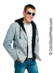 mode, mann, in, sonnenbrille