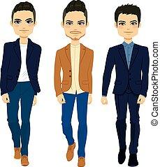 mode, mannen, wandelende
