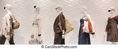 mode, mannequins, dans, fenêtre