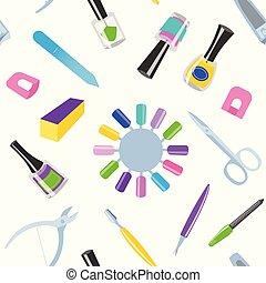 mode, manucure, beauté, pédicure, personnel, instruments, seamless, doigts, équipement, vecteur, santé, produits de beauté, modèle fond, pied, main, soin