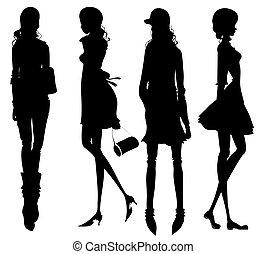 mode, meiden, silhouette