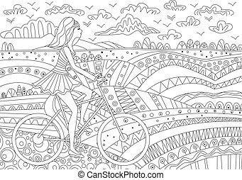 mode, meisje, is, paardrijden, op een fiets, voor, kleurend boek