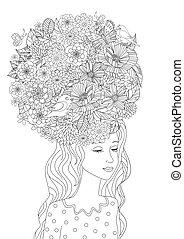 mode, meisje, met, bloemen in haar, voor, jouw, kleuren, pagina