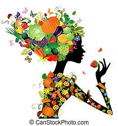 mode, meisje, met, haar, van, vruchten, voor, jouw, ontwerp
