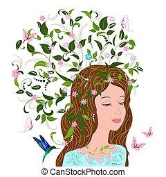 mode, meisje, met, zich verbeelden, floral, haar, voor, jouw, ontwerp