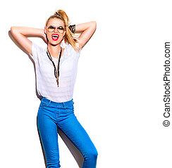 mode, meisje, op, vrijstaand, achtergrond, model, witte