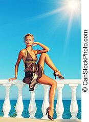 mode modeller, af, den, hav, ind, grækenland