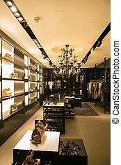 mode, moderne, clair, centre commercial, chaussure, intérieur, magasin