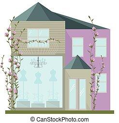 mode, moderne, house., illustration, vecteur, architecture, façade, fleurs