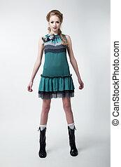 mode, moderne, jeune, femme, modèle, agréable, robe