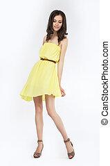 mode, moderne, poser, élégant, girl, robe