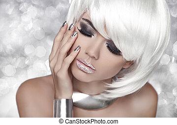 mode, oeil, beauté, enfumé, makeup., girl., femme, blonds, portrait, sur