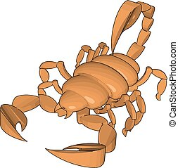 Mode of a 3d scorpion, illustration, vector on white background.