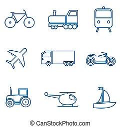 Mode of transport. Car train plane bike truck tractor icon...
