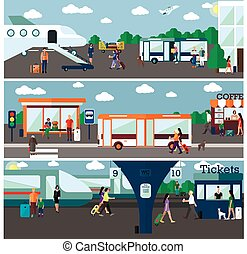 Mode of Transport concept vector illustration. Airport, bus and railway stations. City transportation objects, bus, train, plane, passengers