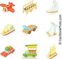 Mode of transport icons set, cartoon style - Mode of...