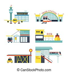 Mode of Transport Illustration Icons Objects - Station...