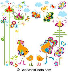 mode, oiseaux, carte