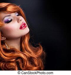 mode, ondulé, hair., portrait, girl, rouges