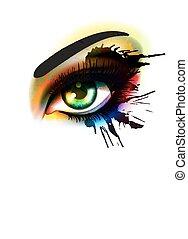 mode, oog, beauty, kleurrijke, opmaken, concept, grunge
